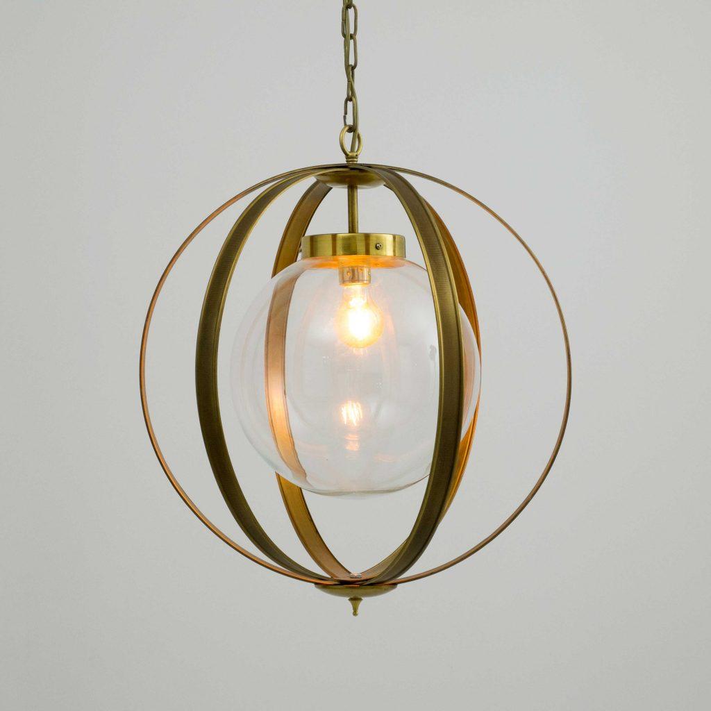 lampara de techo vintage con meridianos de laton