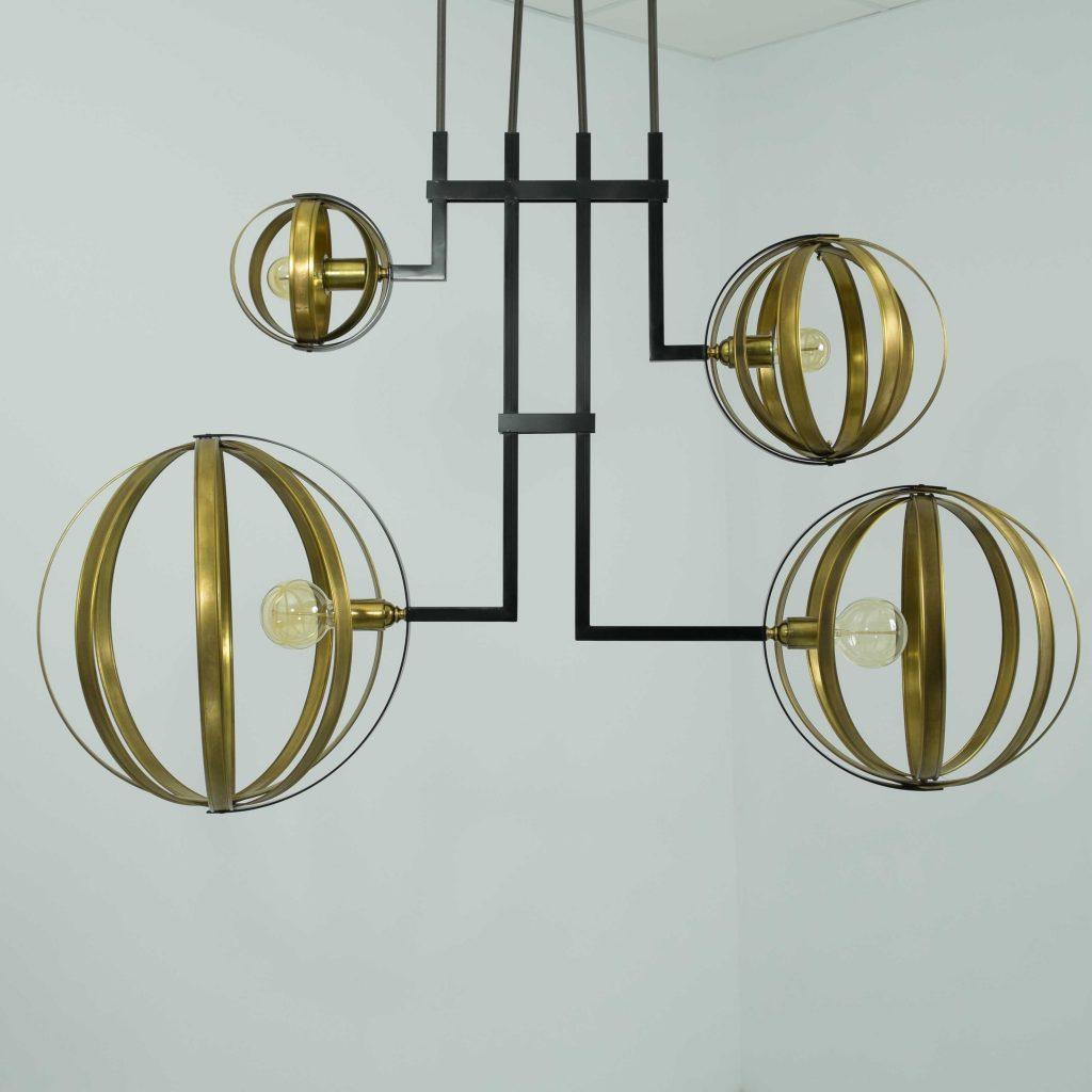 lampara de techo vintage escultura dorada
