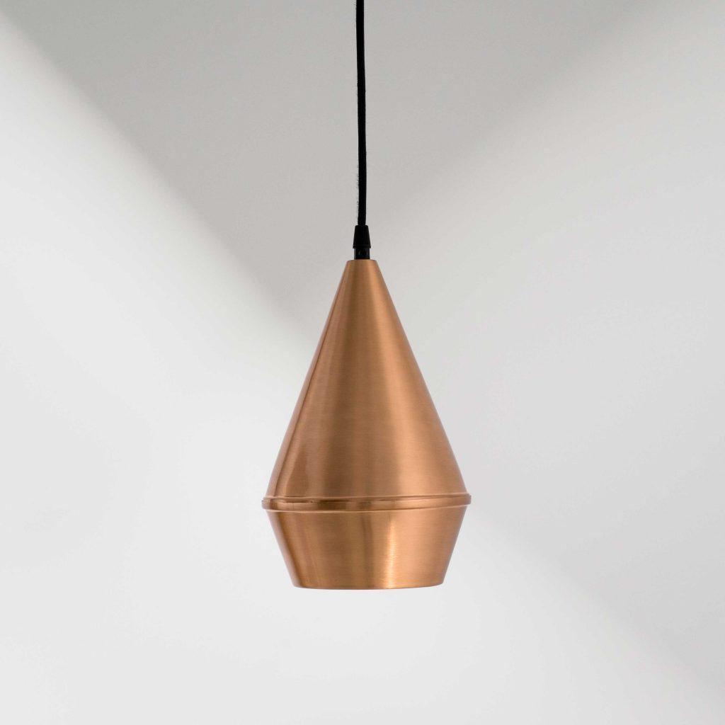 Lámpara de techo industrial cónica cobre mate