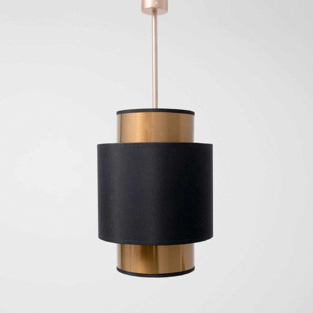 Lámpara colgante doble pantalla cilíndrica cobre y negra