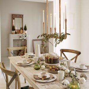 cena navidad decorada en cobre