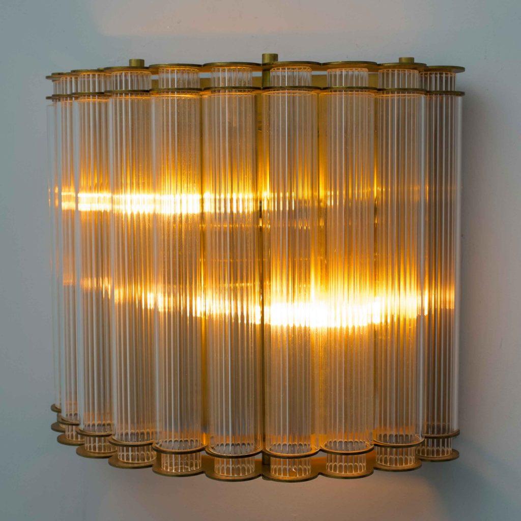 aplique de pared vintage tubos de cristal rayado