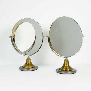 Espejo circular vintage doble cara para mesa
